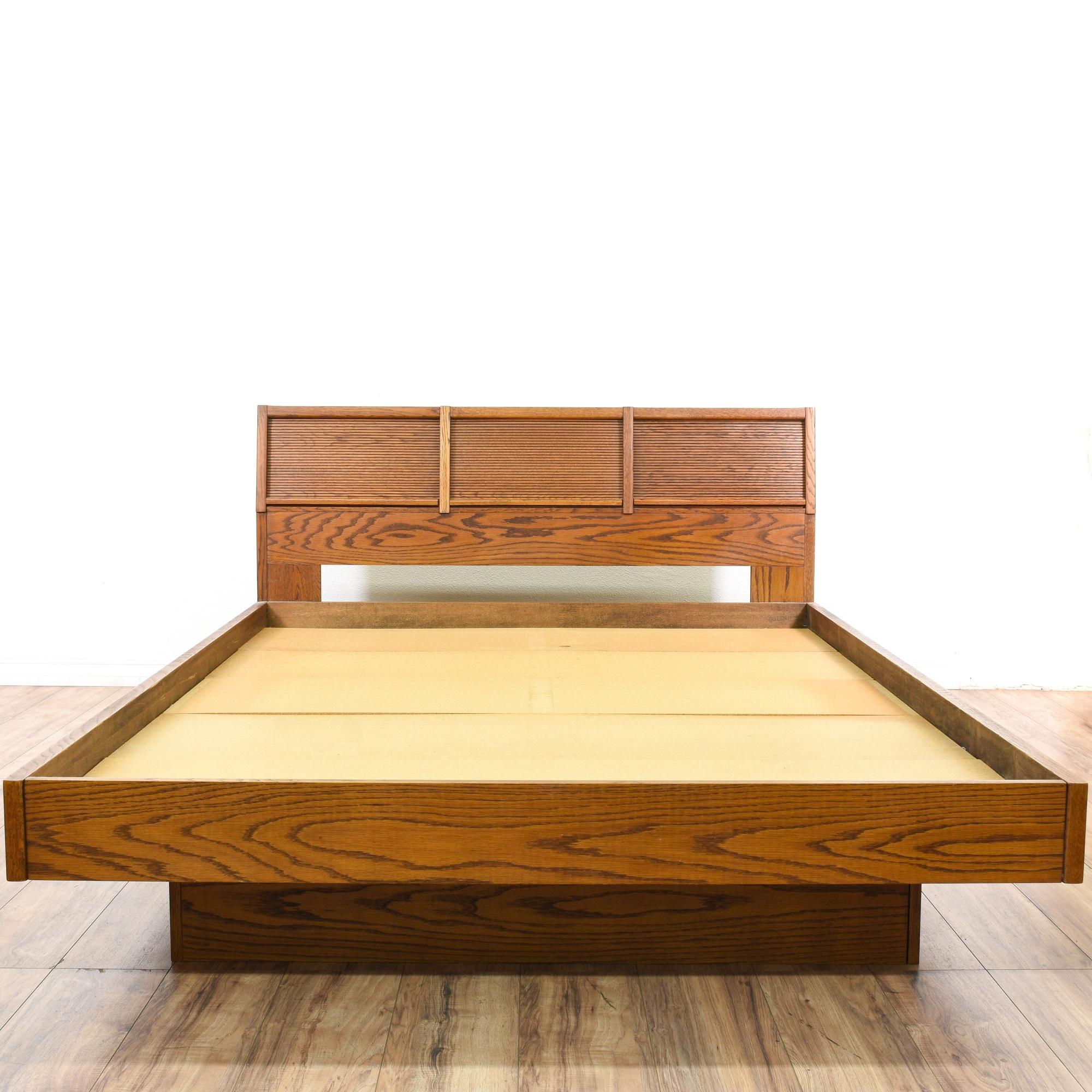 danish modern oak queen sized platform bed loveseat