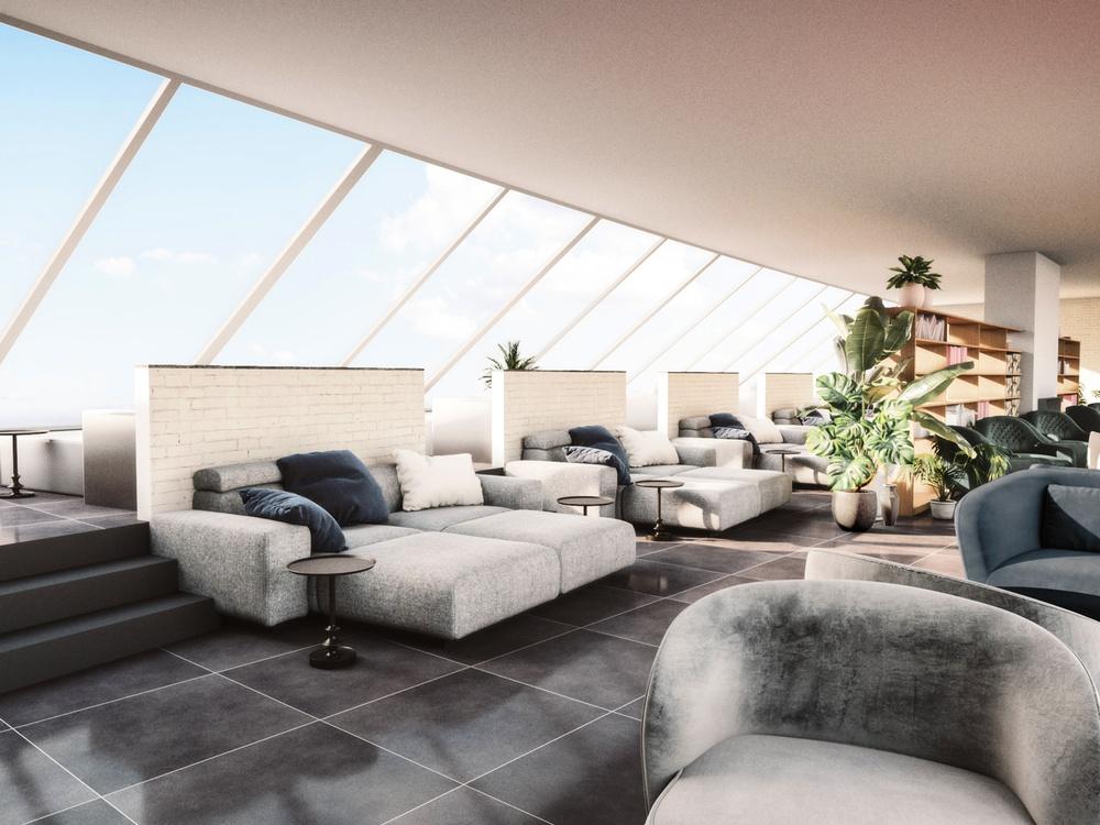 Skiss av relaxavdelning i Hotel Skansens nya spa. Bild: Victor Johansson, Arkitekterna Krook & Tjäder