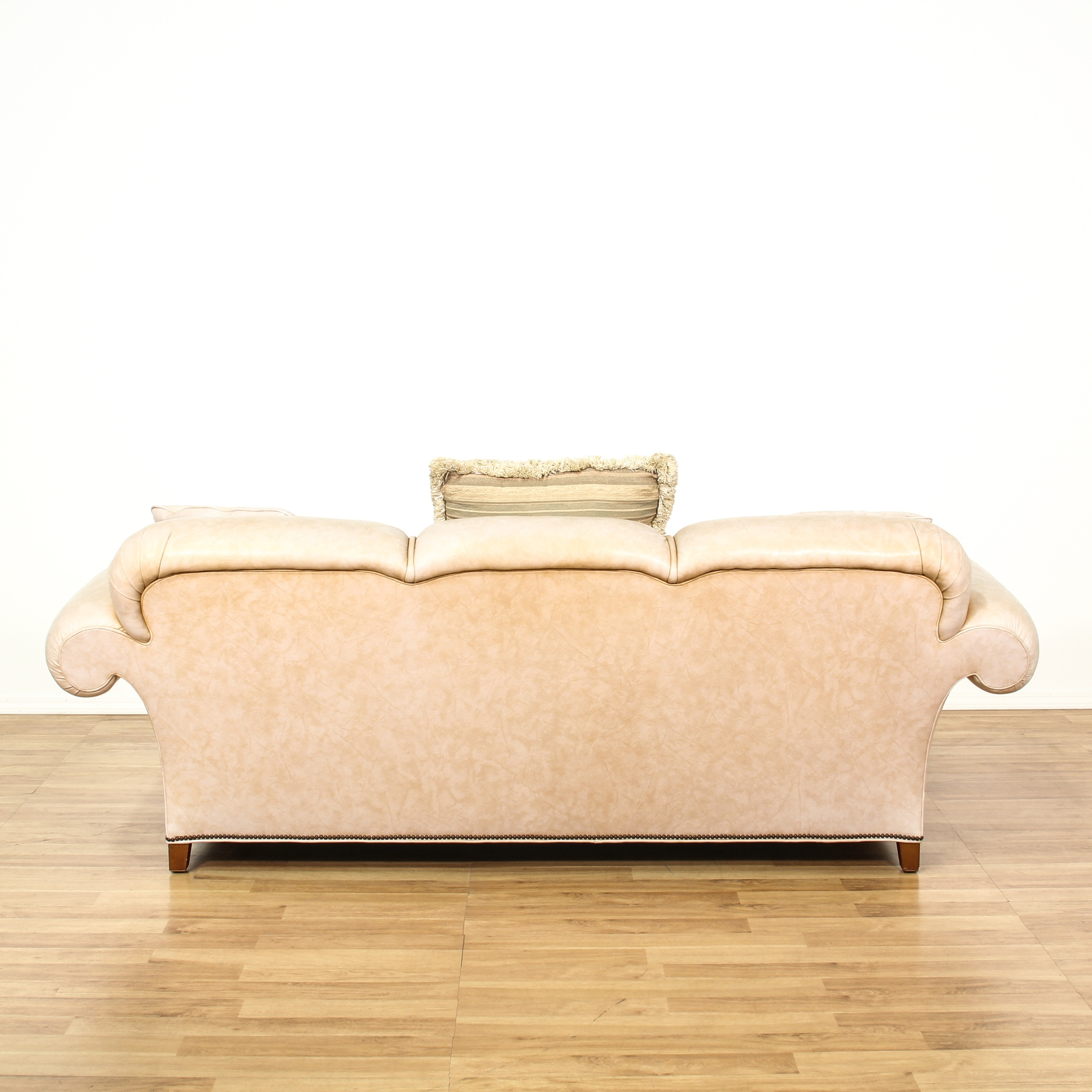 Baker Cream Leather Upholstered Sofa Loveseat Vintage Furniture San Diego Los Angeles