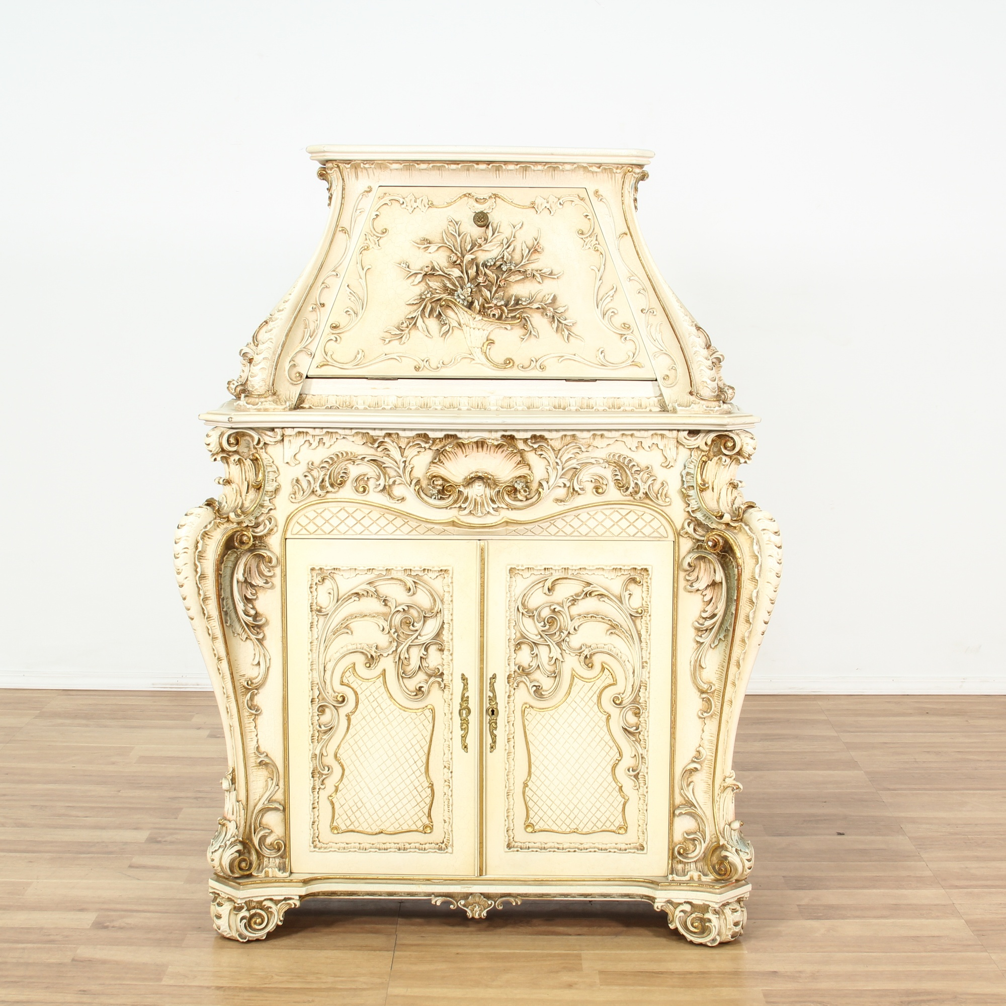 Italian Ornate White Painted Cabinet