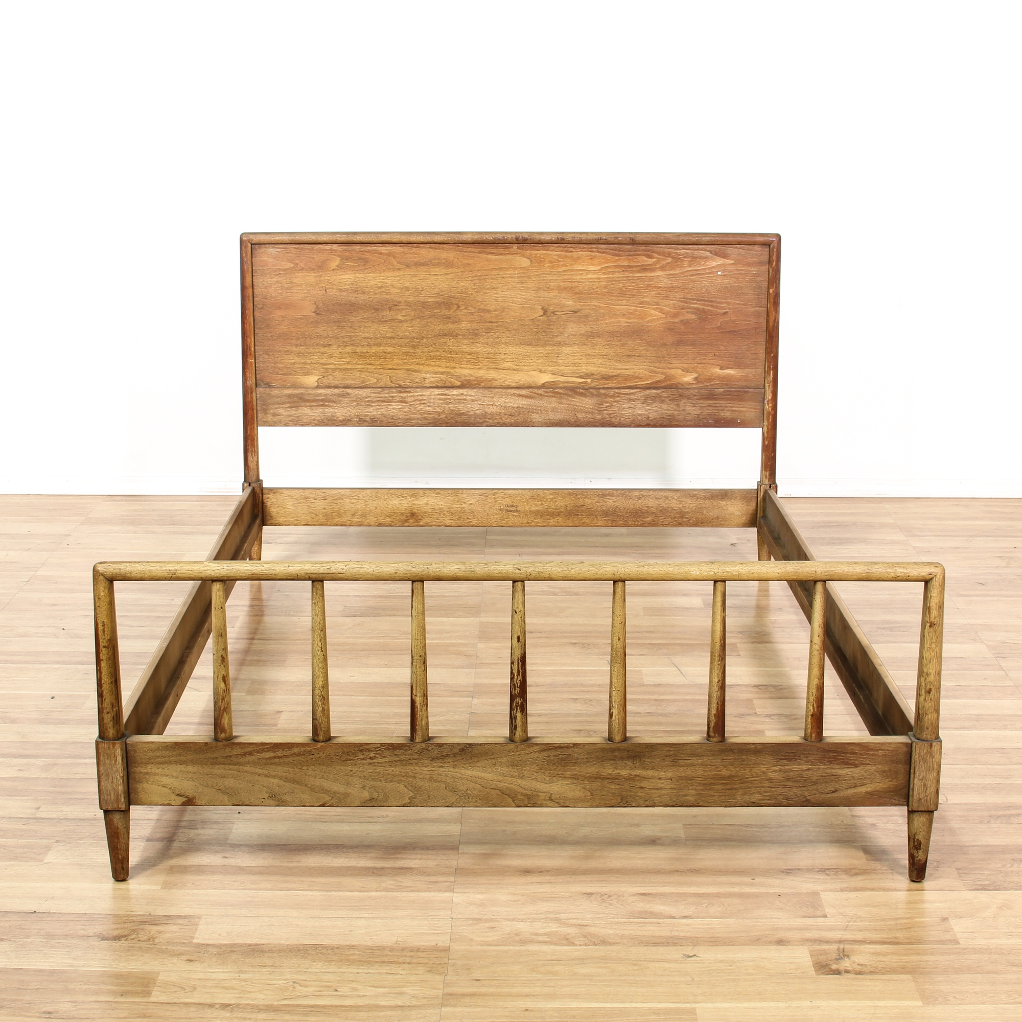 Mid century modern rustic wood full bed frame loveseat for Mid century modern la
