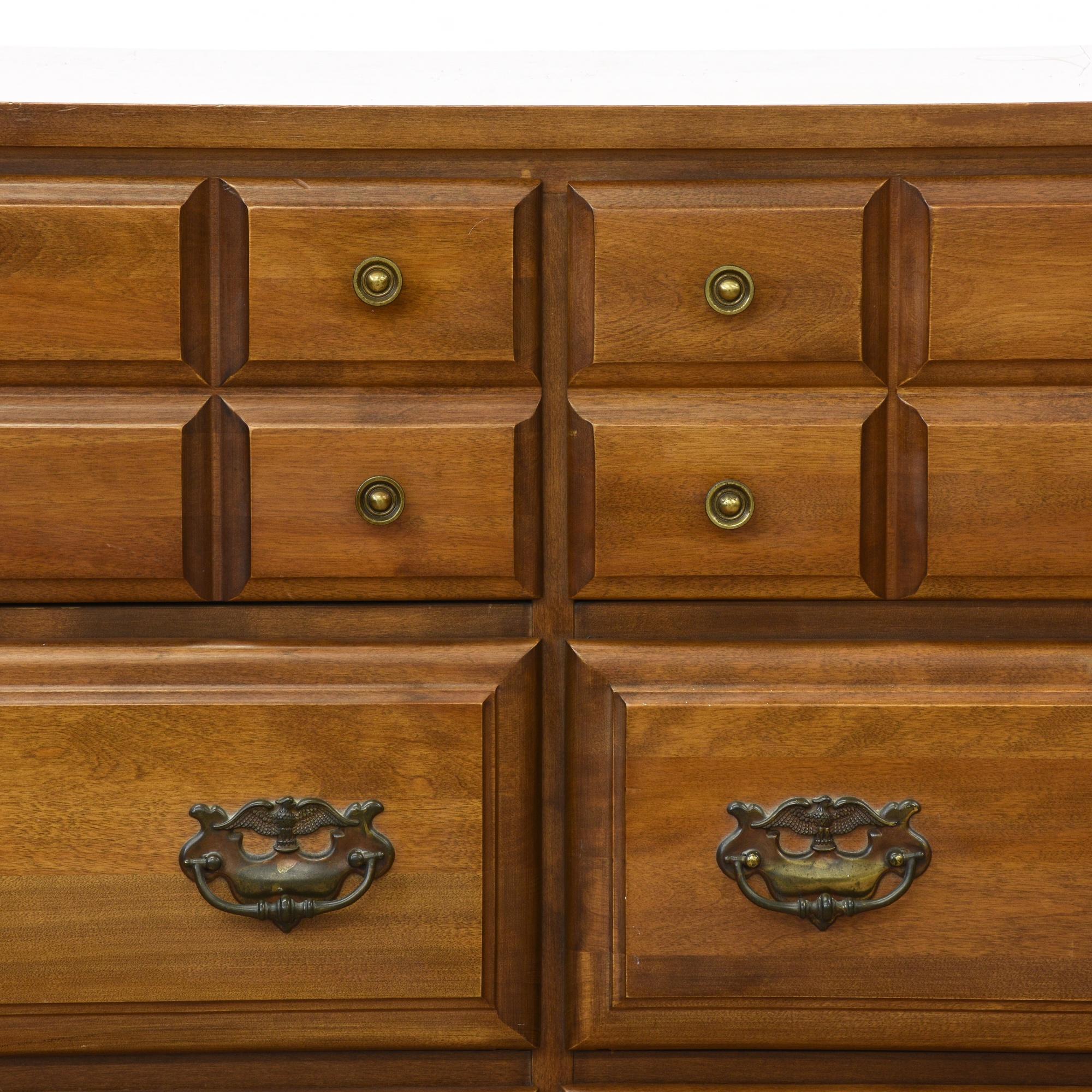 Traditional Carved 6 Drawer Long Dresser | Loveseat ...