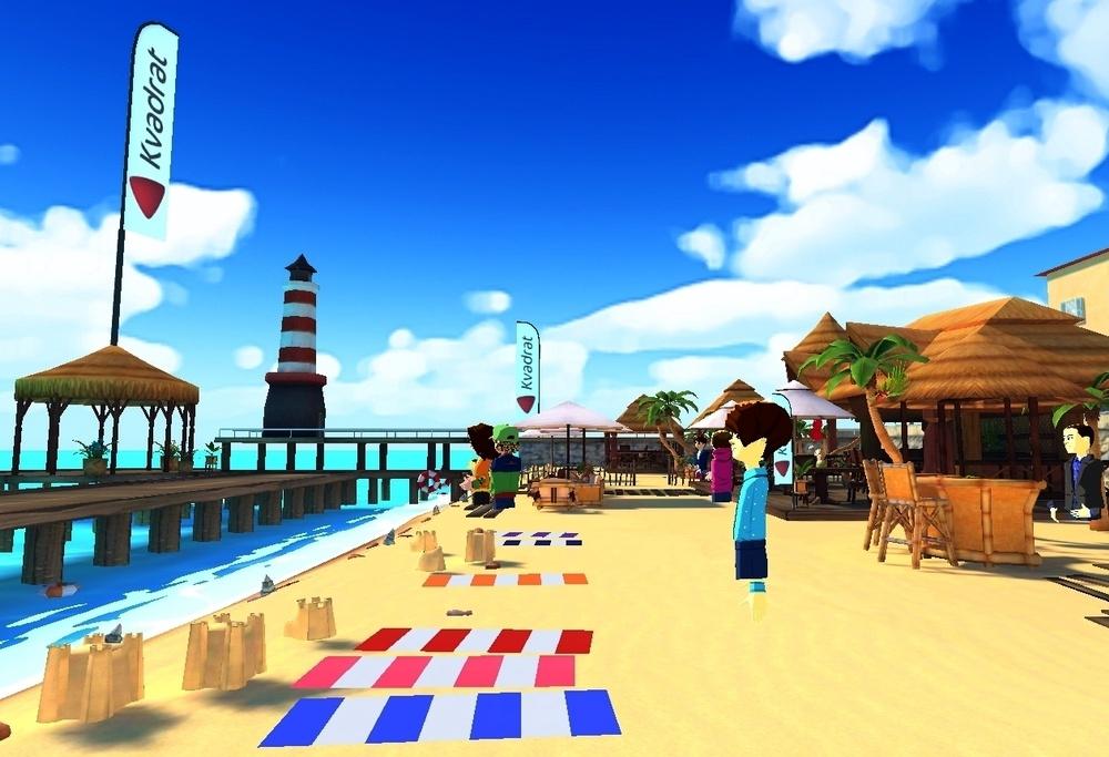 Kvadratdagen VR akt 2 med yoga och föredrag i avspänd strandmiljö.