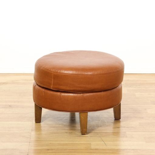 Tan Vinyl Upholstered Ottoman Loveseat Vintage Furniture