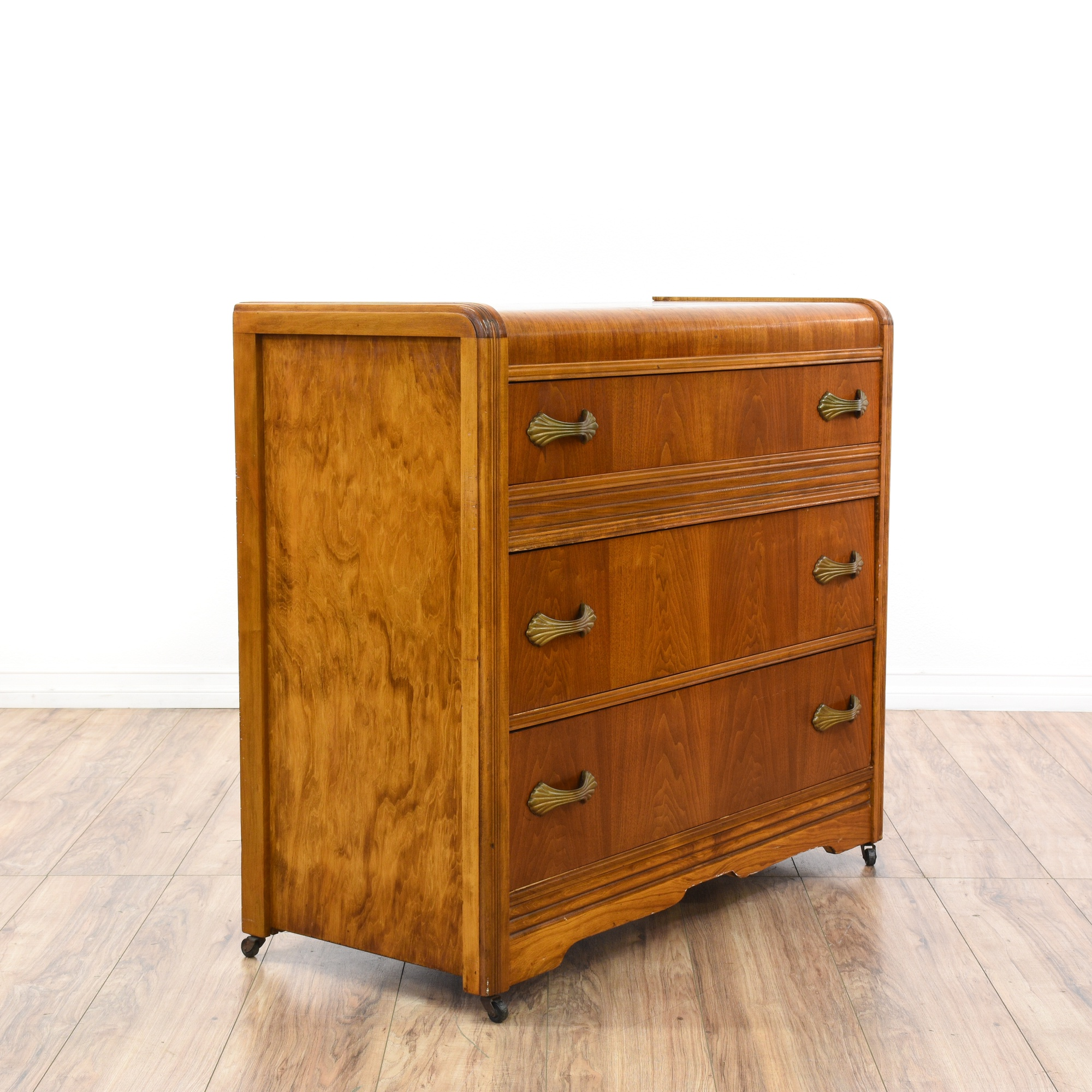 antique deco waterfall front chest of drawers