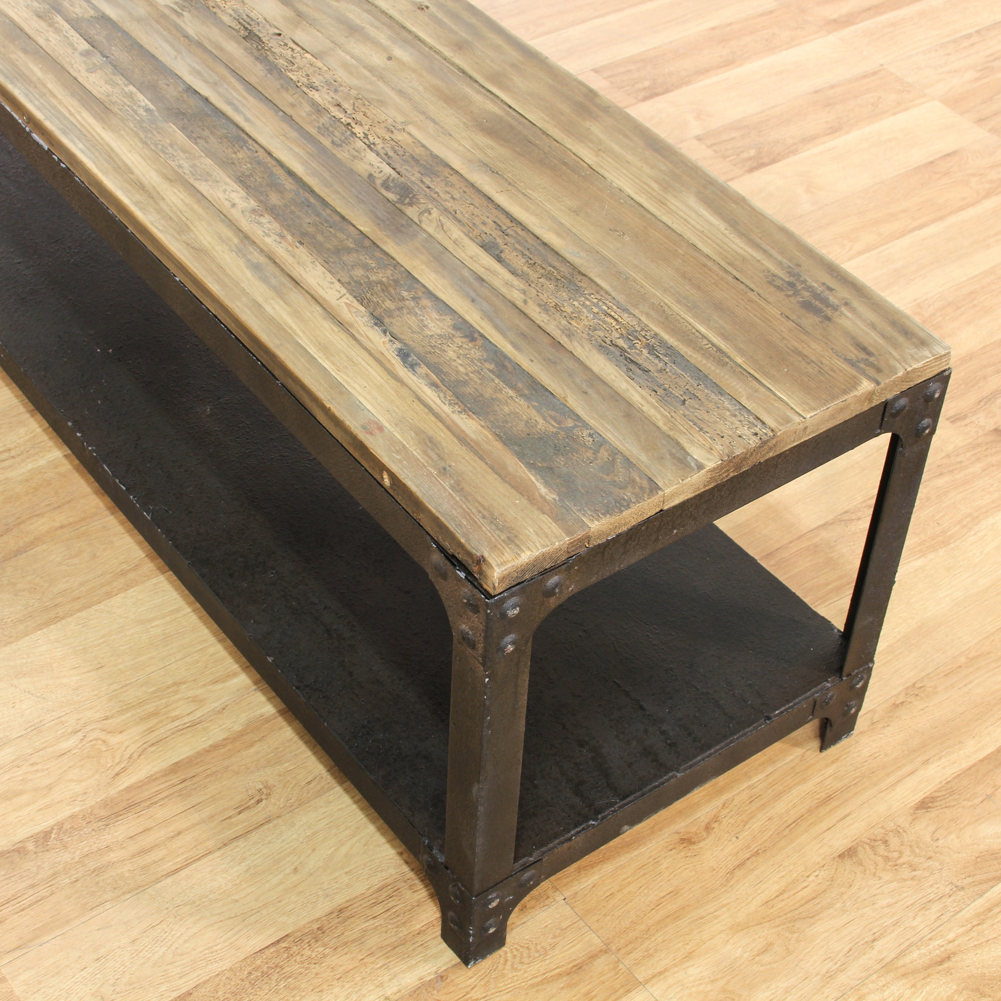 Contemporary rustic plank top iron coffee table loveseat vintage furniture san diego los Rustic iron coffee table