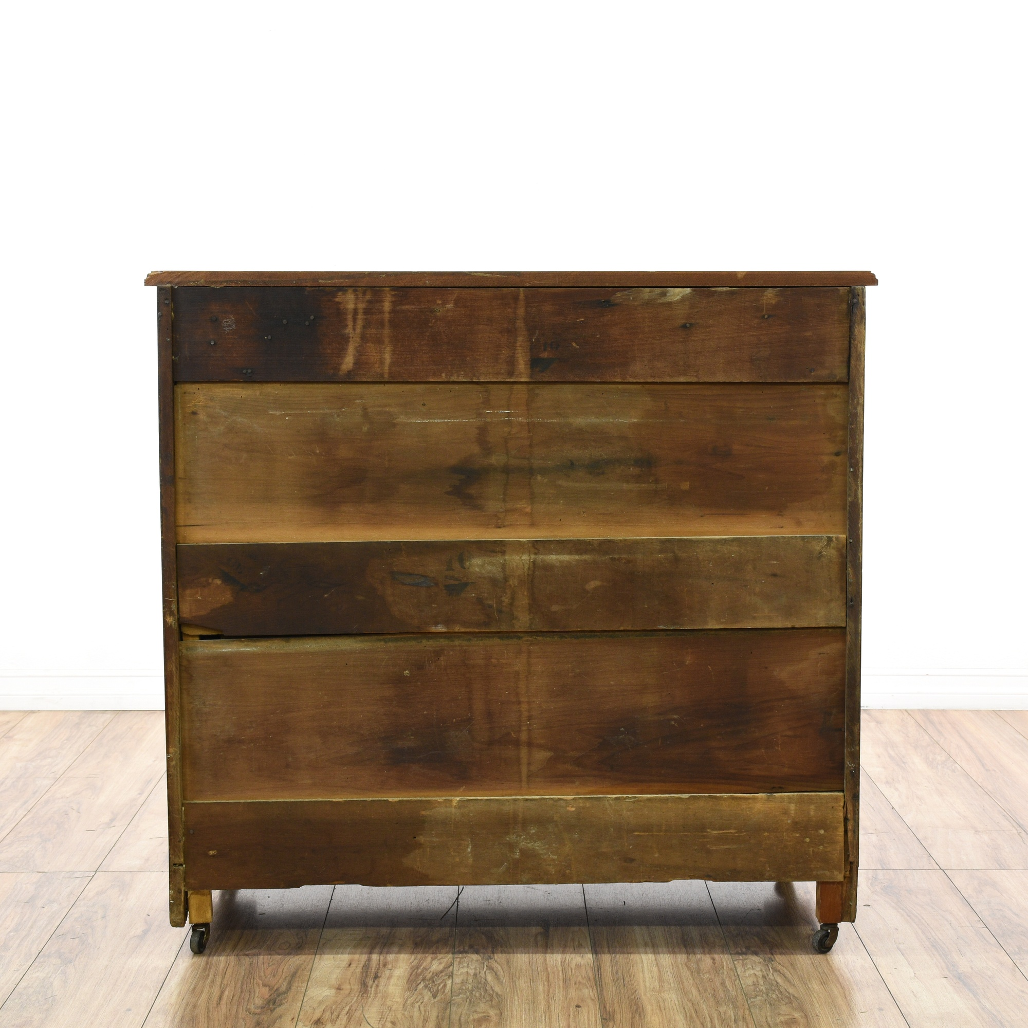 Rustic antique 4 drawer burl wood inlay dresser loveseat for Reclaimed wood furniture los angeles