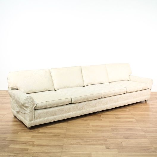 Low Profile White Brocade Sofa Loveseat Vintage
