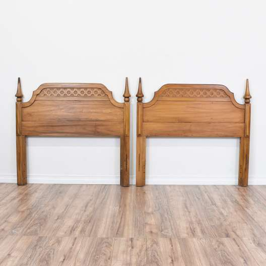 Pair of Carved Mid Century Twin Sized Headboard