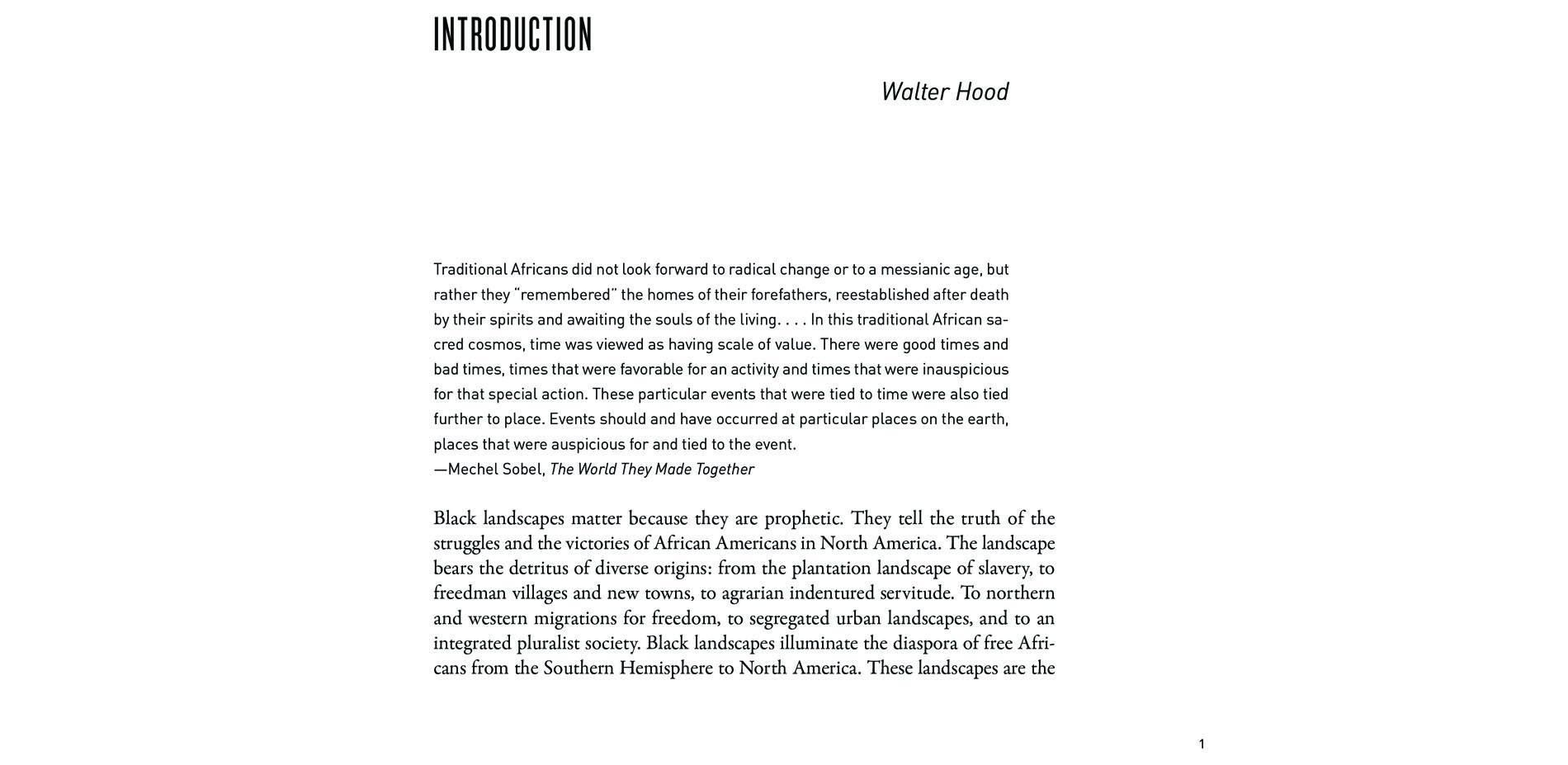 Black Landscapes Matter, Introduction (pg. 1)