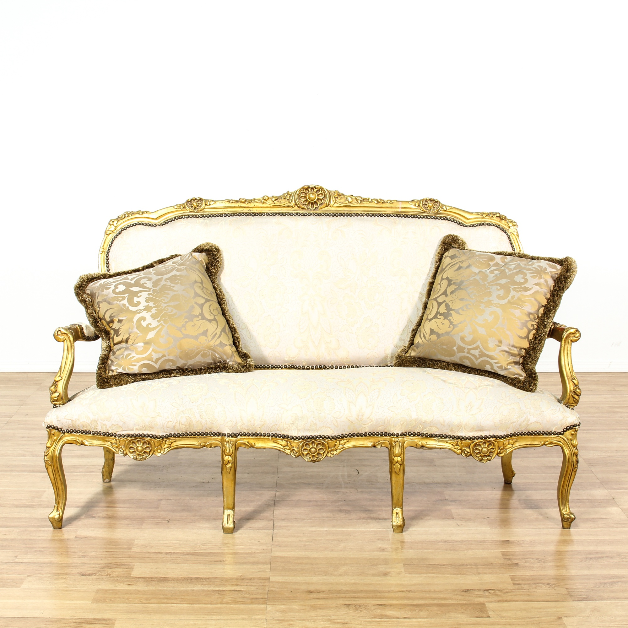 Louis Xv Style Gilt Gold Cream Settee Sofa Loveseat Vintage Furniture San Diego Los Angeles