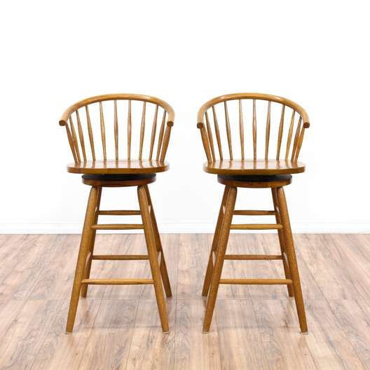 Pair of Oak Curved Back Barstools