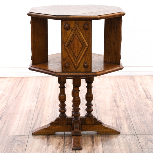 Rotating end table w storage shelf on pedestal loveseat for Revolving end table