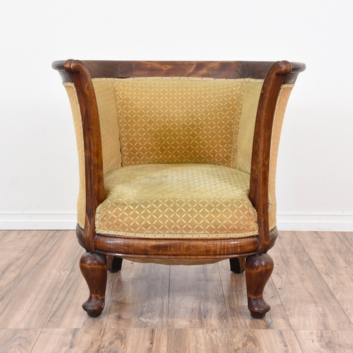 Solid Wood Barrel Armchair W Gold Upholstery Loveseat Vintage Furniture San Diego Los Angeles