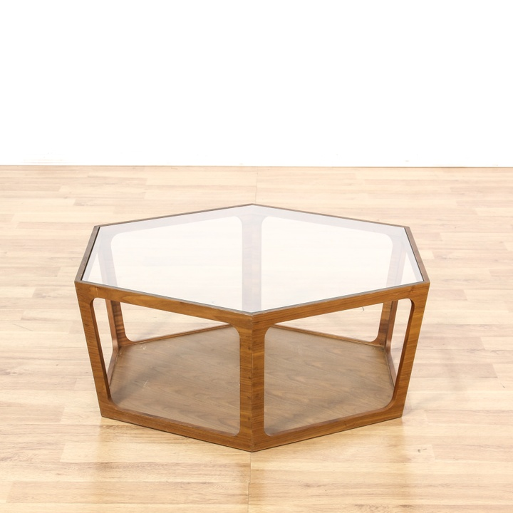 Mid Century Glass Top Octagon Coffee Table