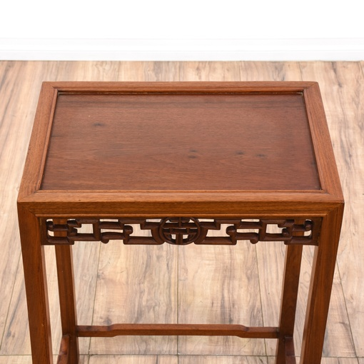 Asian carved rosewood side table loveseat vintage for Oriental furniture los angeles