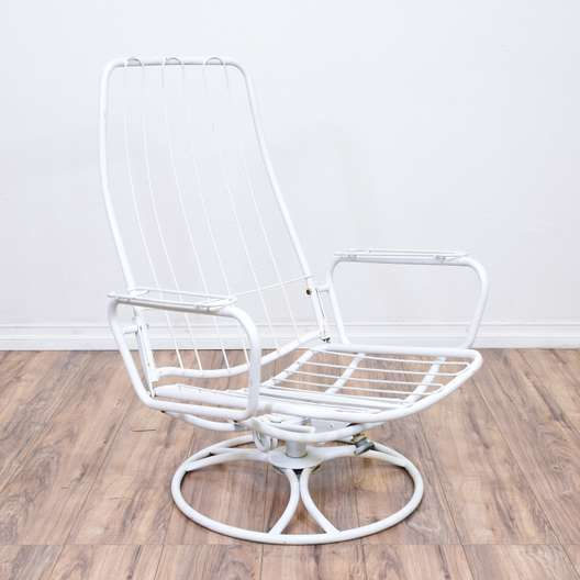 Mid Century Modern White Metal Swivel Chair