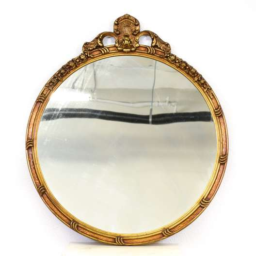 Round Carved Antique Gold Mirror