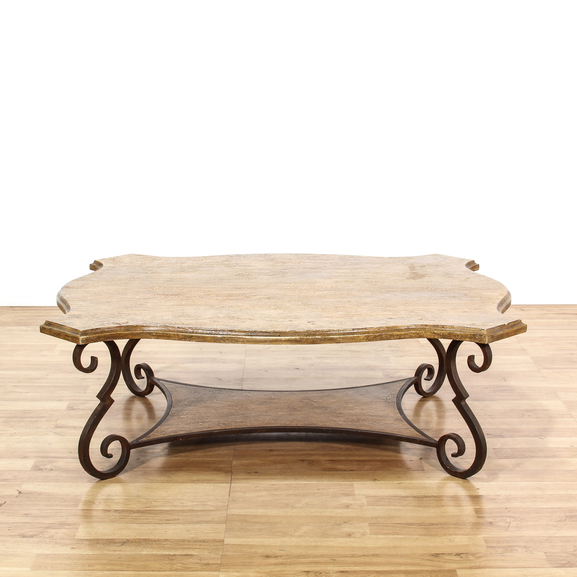 Iron Patina Curved Wood Coffee Table