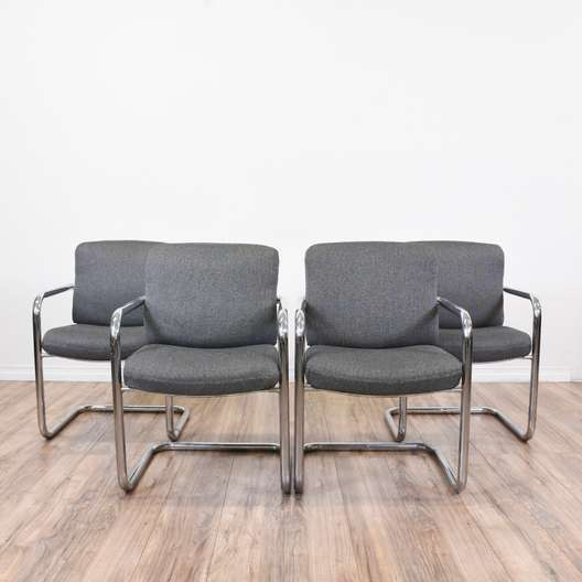 Set of 4 Gray Upholstered Chrome Armchairs