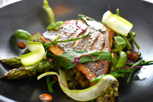 black-bream-anchovy-and-basil-fregola-with-samphire-and-grill-asparagus