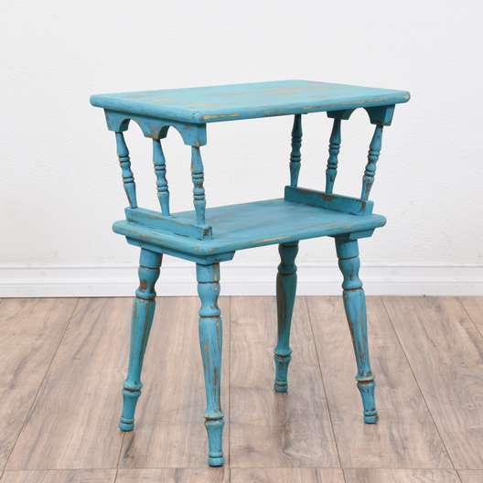 Light Blue Shabby Chic 2 Tiered Side Table