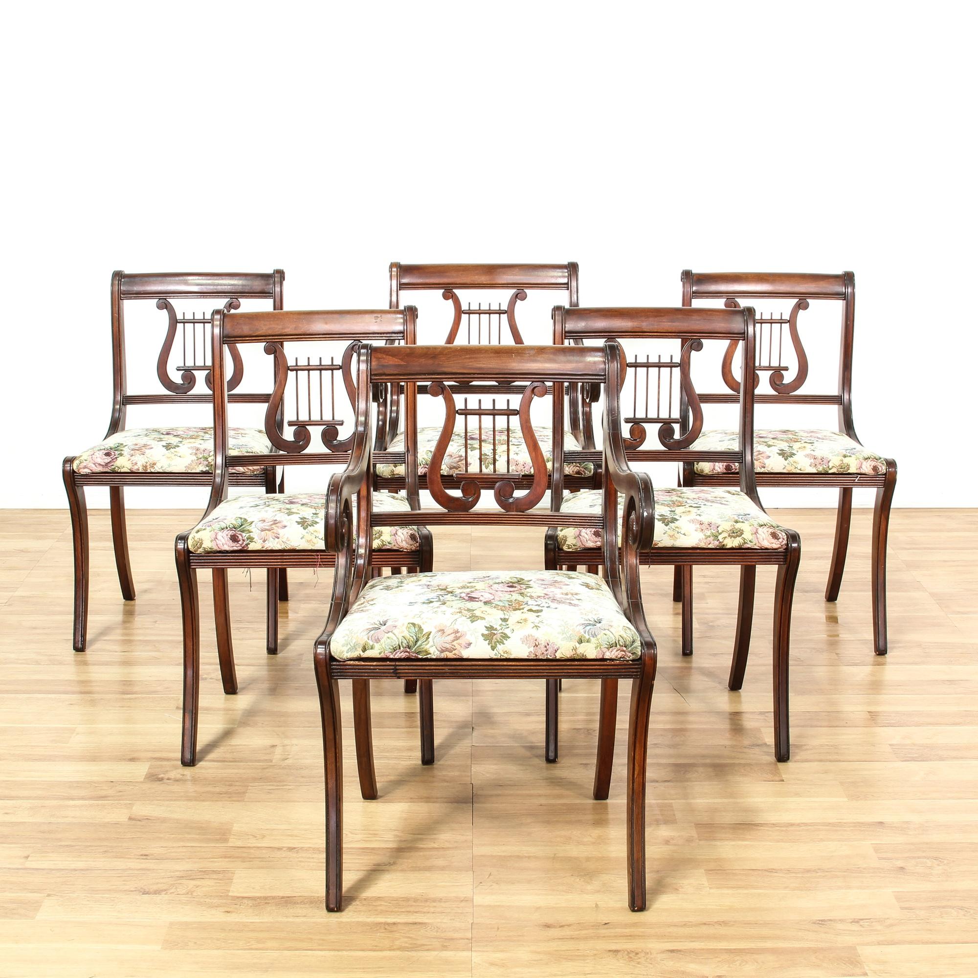 set of 6 duncan phyfe lyre back dining chairs loveseat vintage furniture san diego los angeles. Black Bedroom Furniture Sets. Home Design Ideas