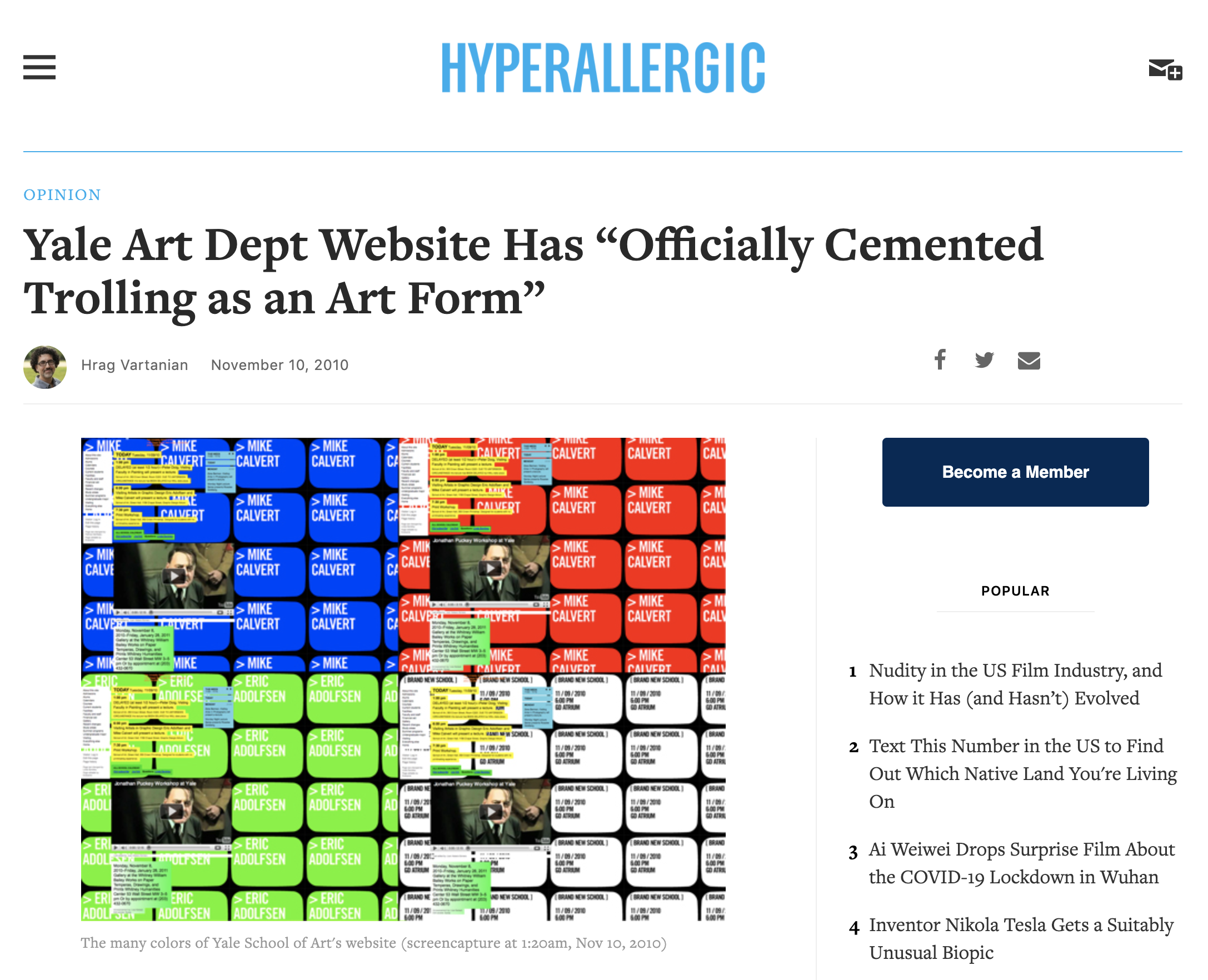Screenshot of the Hyperallergic article linked to above.