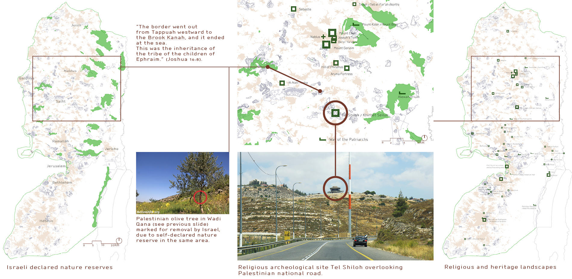 3. Settlement by landscape - example : Wadi Qana  |  3.1. nature reserves acts of declaration  |  3.2. landscape of religion