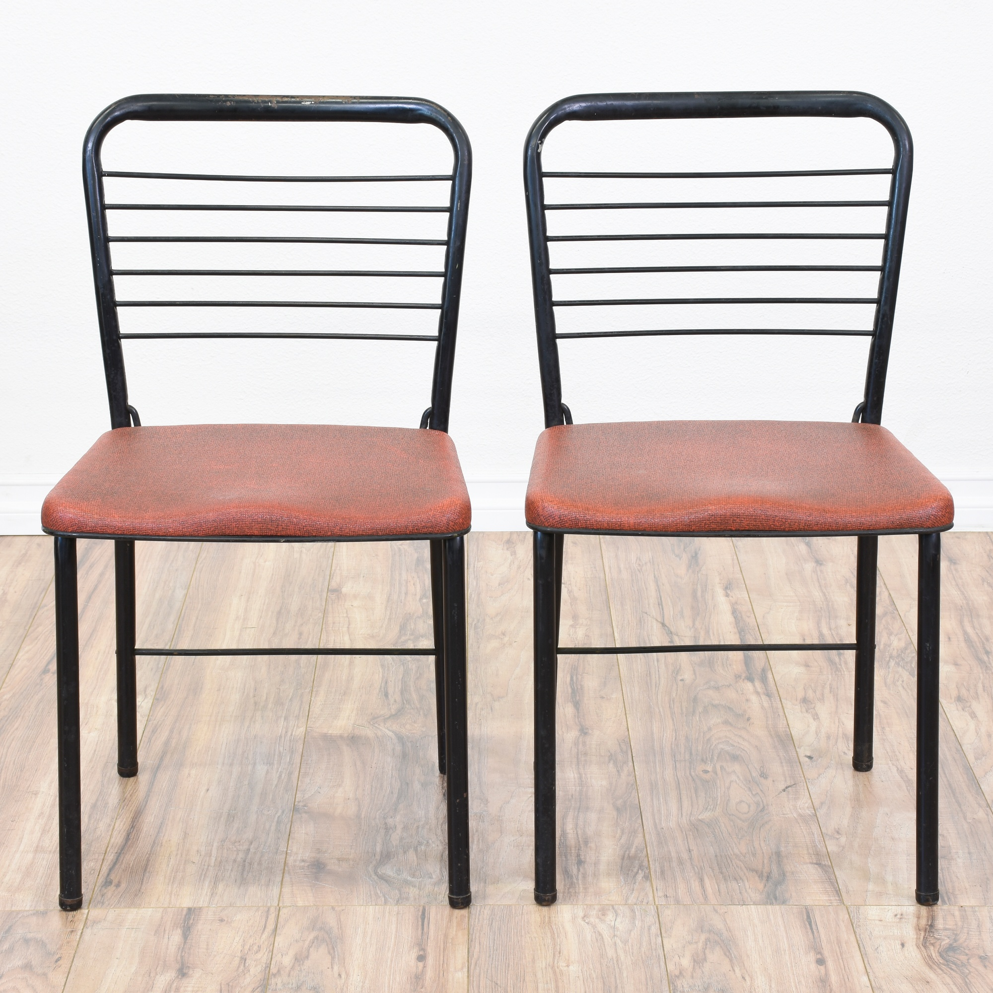 Pair Of Black Mid Century Modern Folding Chairs Loveseat Vintage Furniture San Diego Los Angeles
