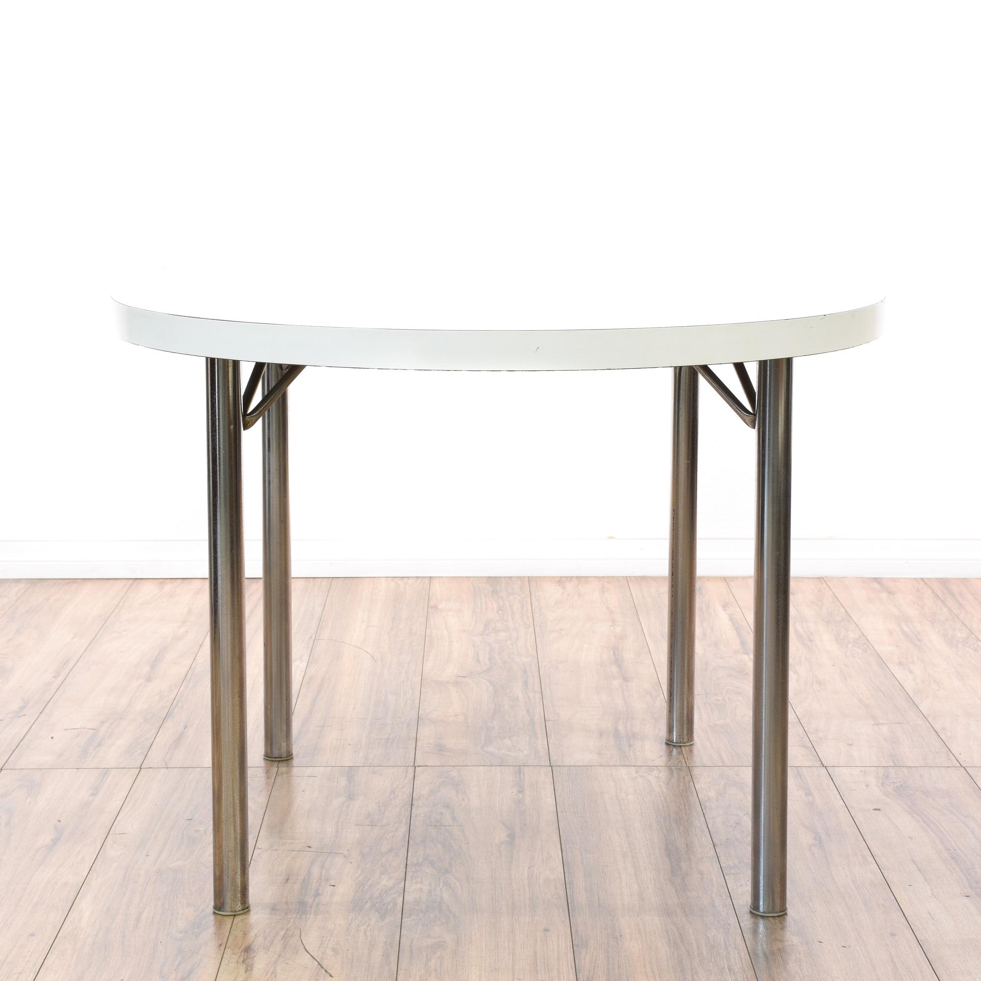 Retro white laminate chrome dinette table loveseat vintage furniture san diego los angeles - Retro chrome kitchen table ...
