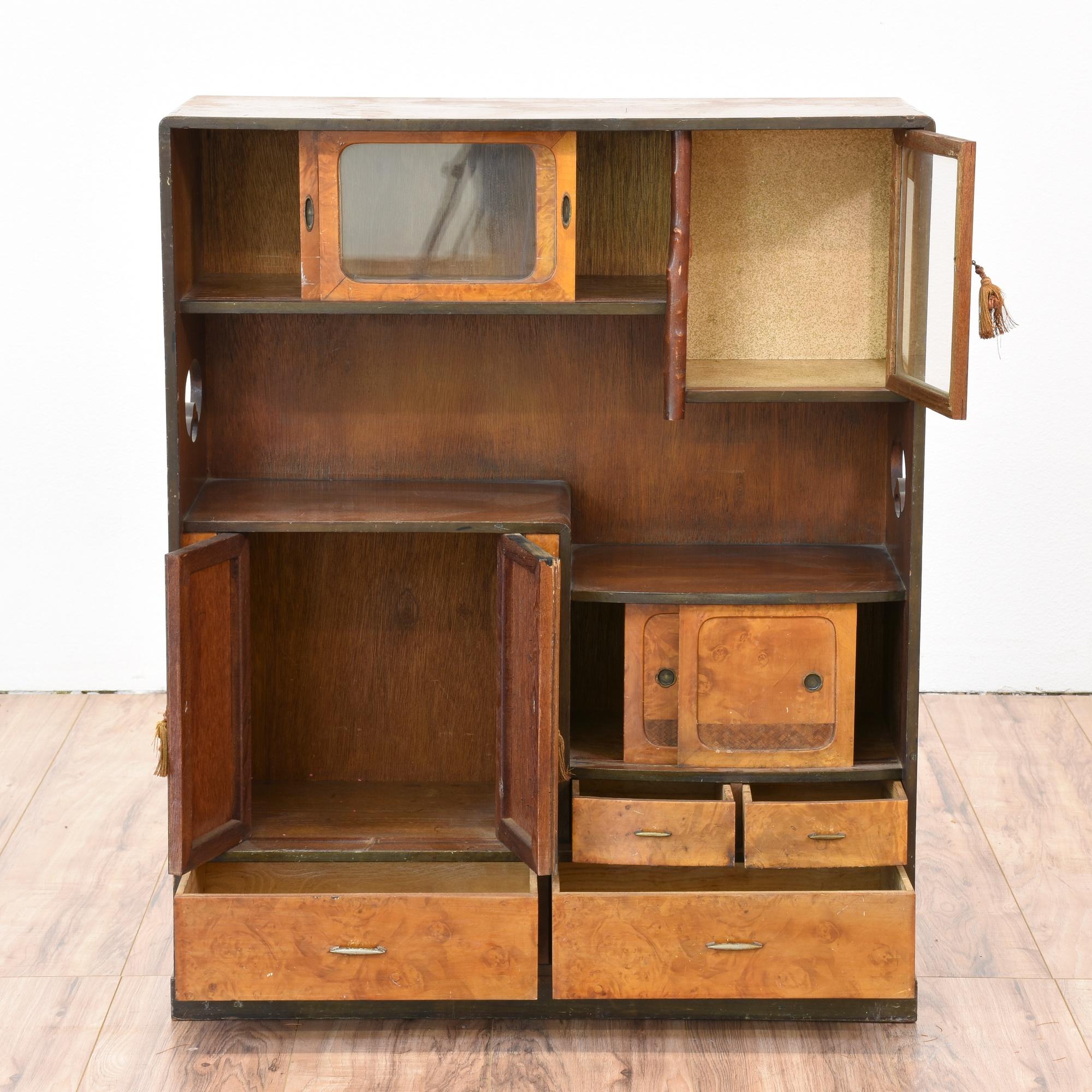Antique Burl Wood Japanese Tansu Futon Cabinet