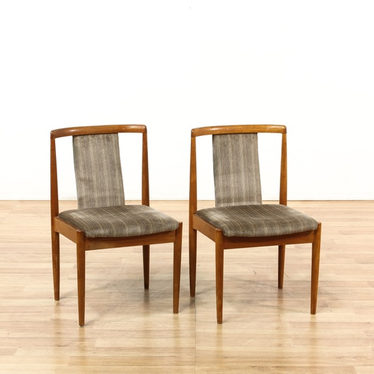 Pair Of Mid Century Upholstered Wood Frame Chairs