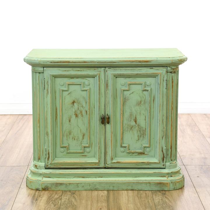 green shabby chic carved foyer cabinet loveseat vintage furniture san diego. Black Bedroom Furniture Sets. Home Design Ideas