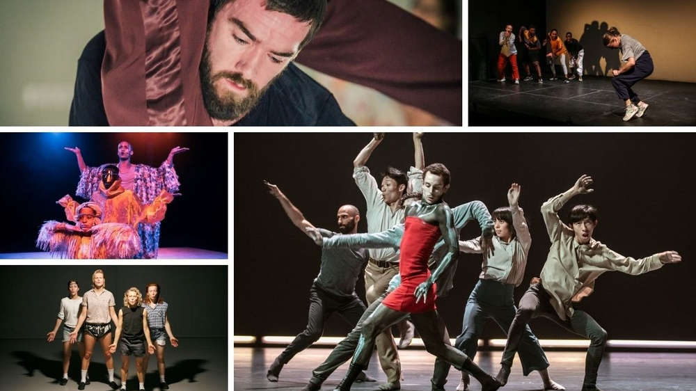 Collage med bilder från ett urval av vårens föreställningar.