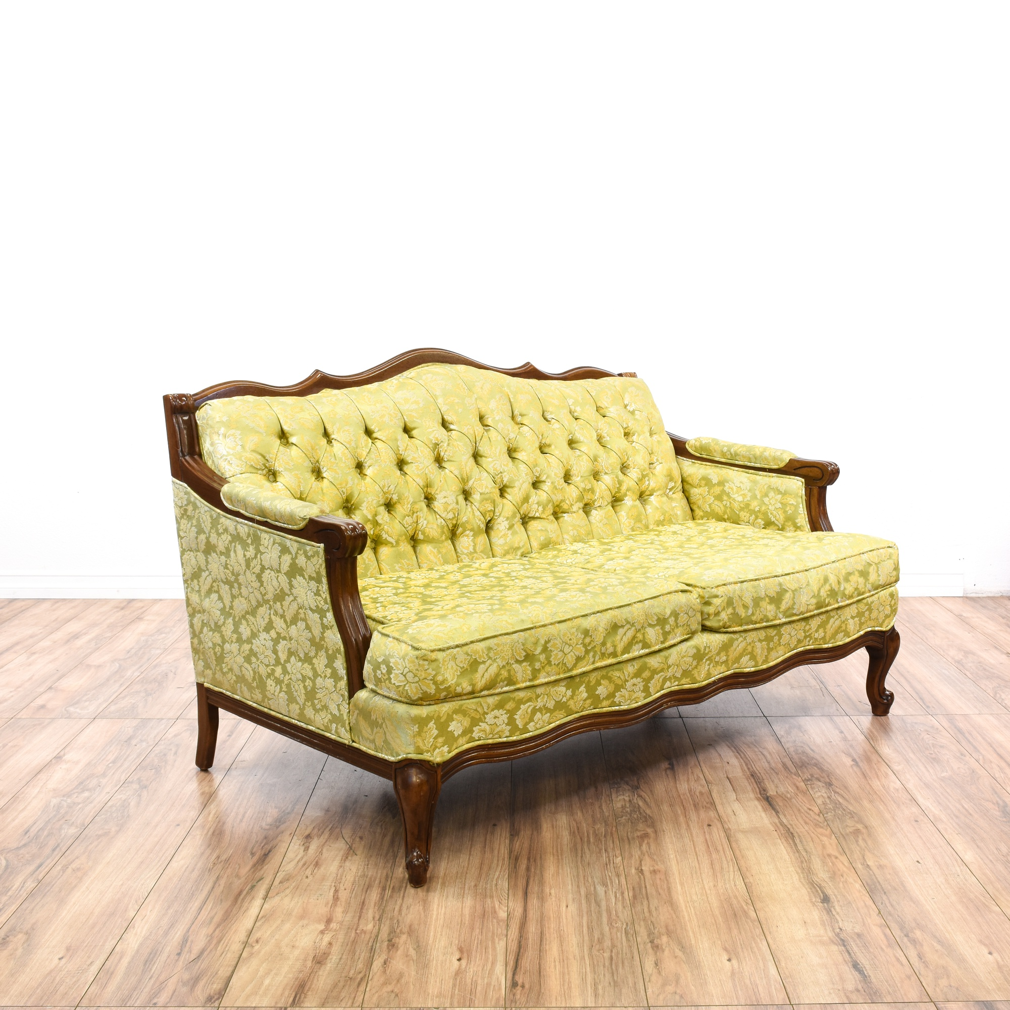 Yellow Green Floral Tufted Loveseat Sofa Loveseat Vintage Furniture San Diego Los Angeles