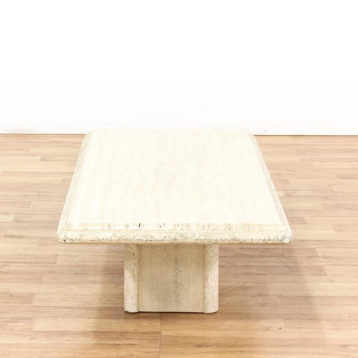 rectangular cream colored stone coffee table loveseat vintage furniture los angeles. Black Bedroom Furniture Sets. Home Design Ideas