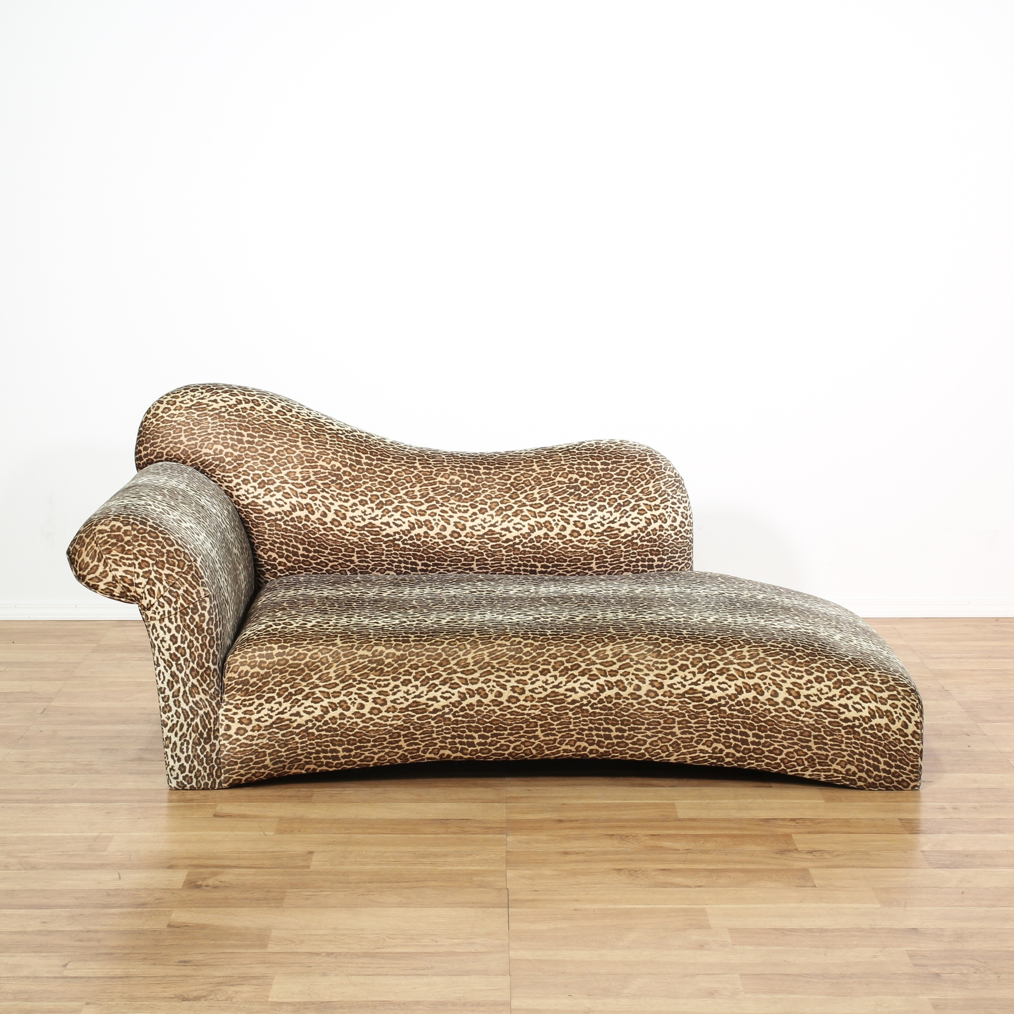 Leopard Print Chaise Lounge Loveseat Vintage Furniture