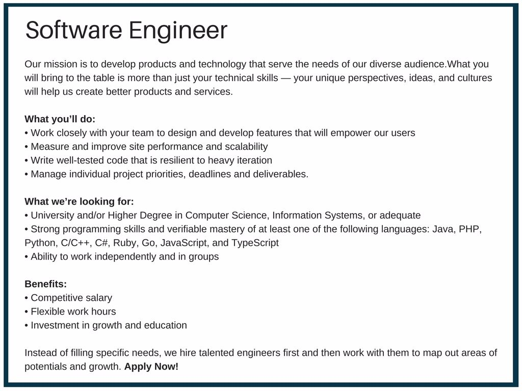 Superior Software Engineer Job Description