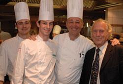 (l-r)Auberge head chef Dirck Gieselmann, Armand Sablon, Marc Haeberlin and Michel Roux