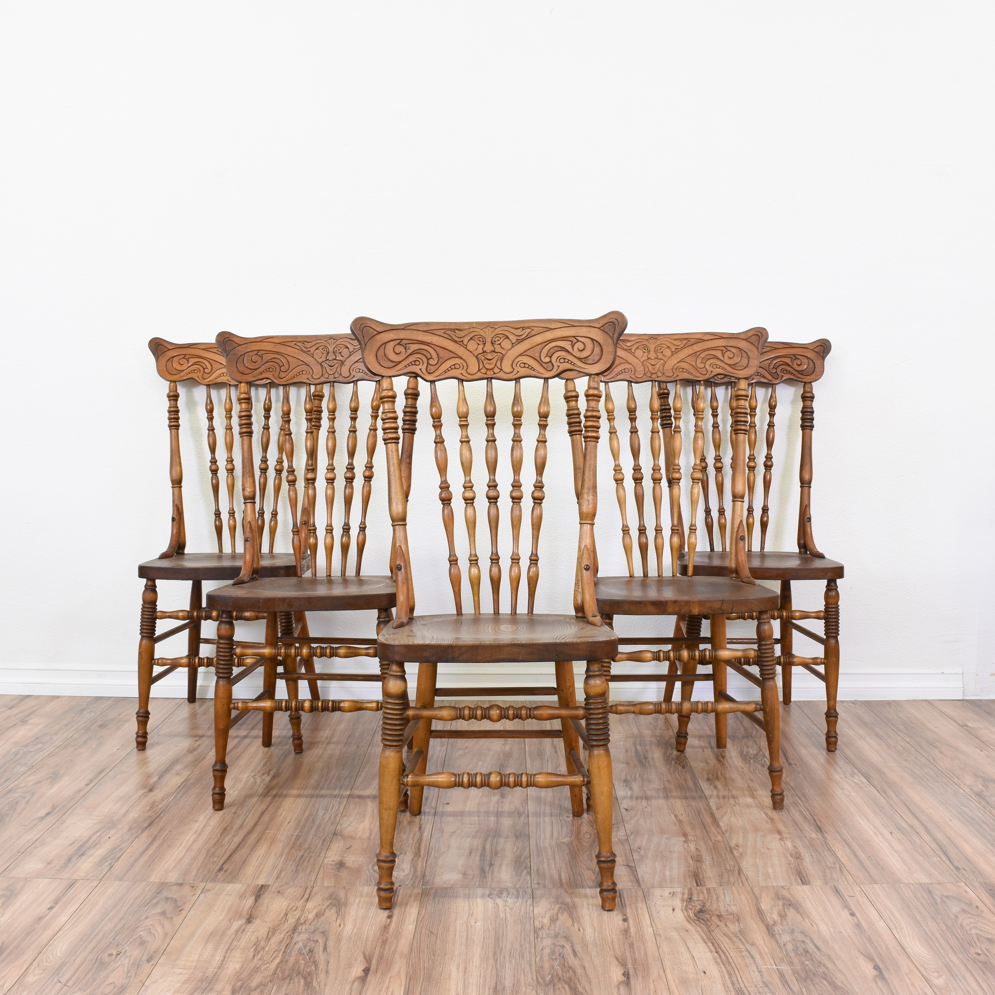 Set Of 5 Antique Carved Spindle Back Dining Chairs   Loveseat Vintage  Furniture San Diego