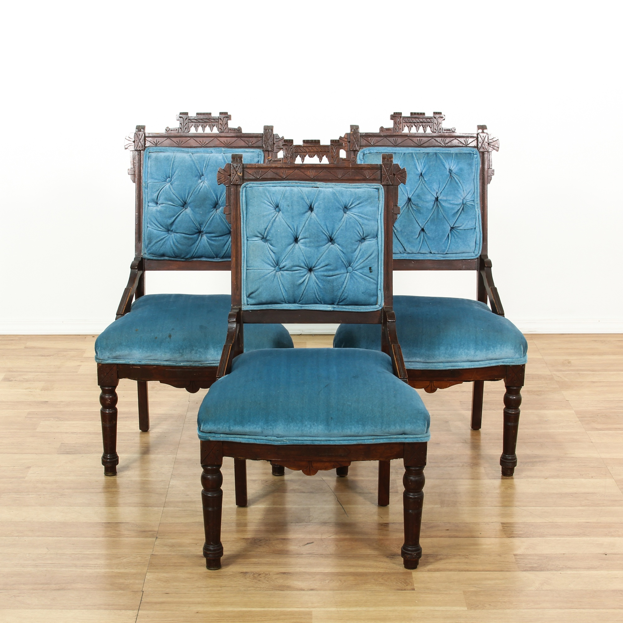 Set Of 3 Carved Victorian Blue Upholstered Chairs