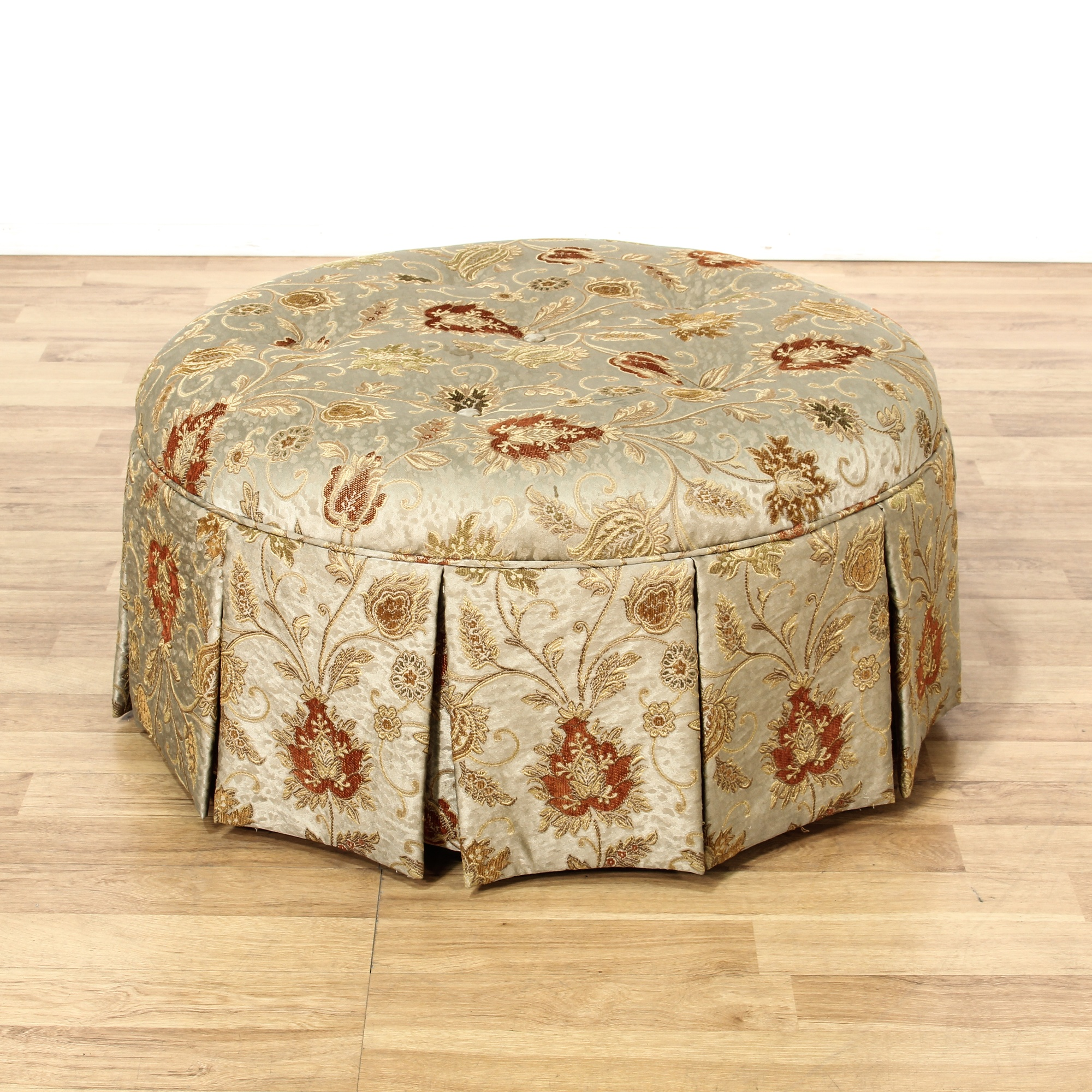 large round floral upholstered ottoman loveseat vintage furniture san diego los angeles. Black Bedroom Furniture Sets. Home Design Ideas