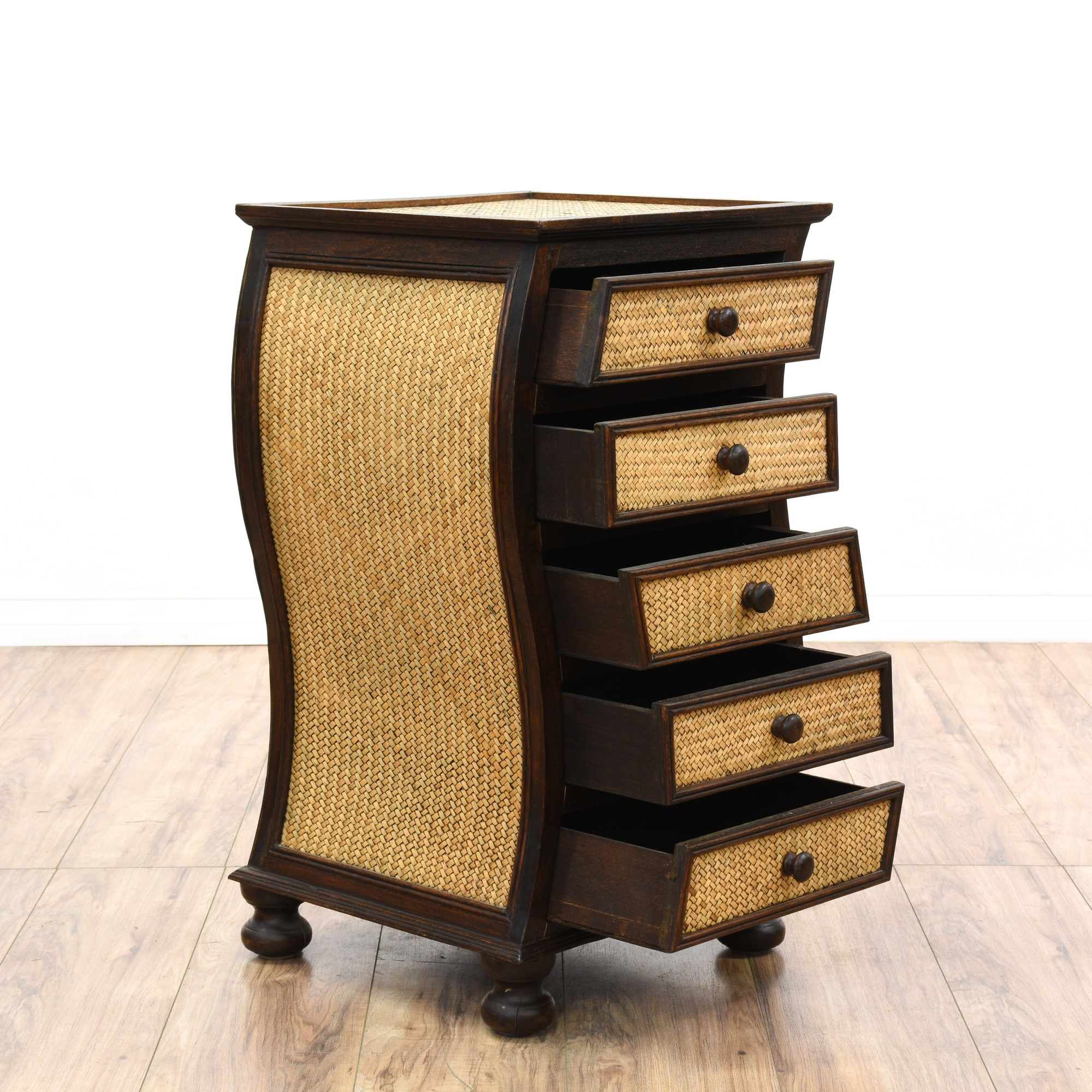 Curved Rattan Wood Chest Of Drawers Loveseat Vintage