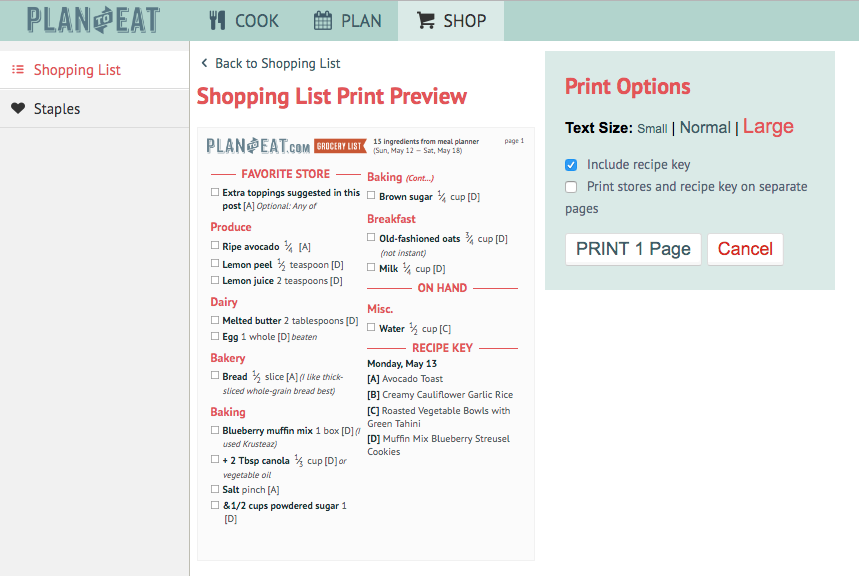 Print or export your shopping list