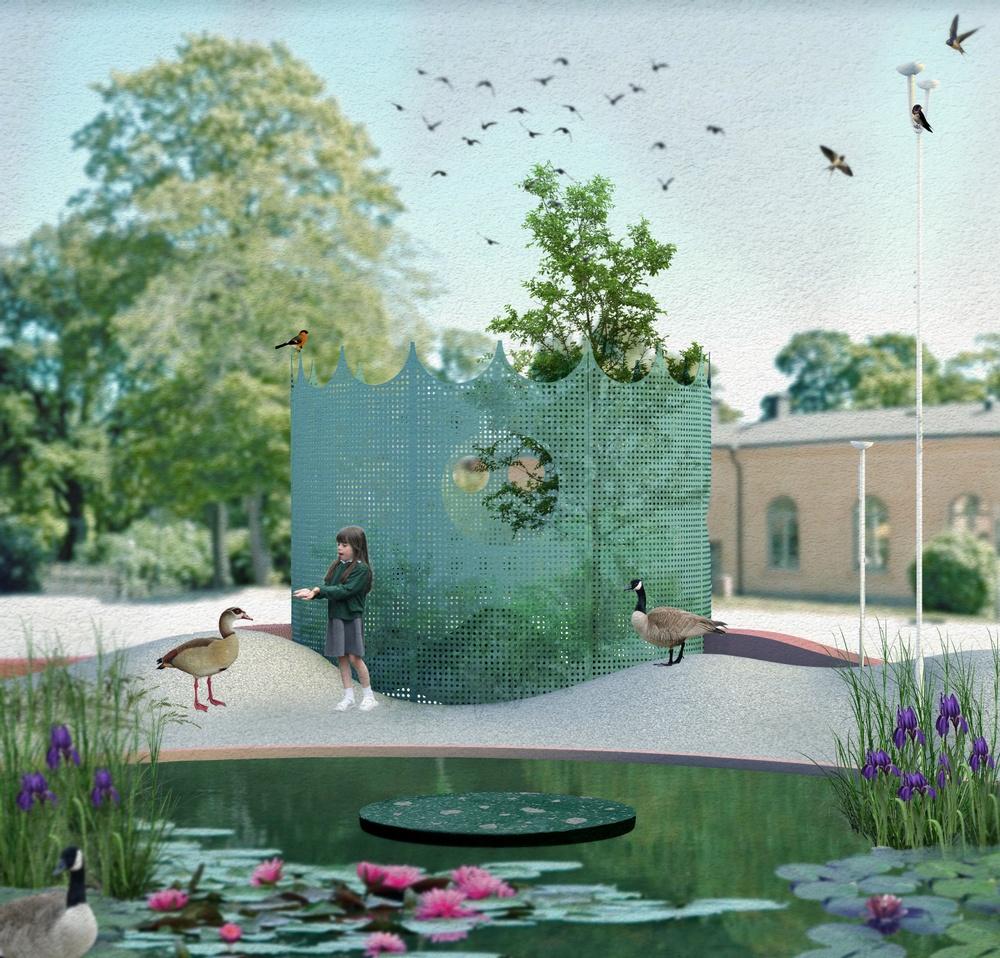 Fragment view of 'Studio Ossidiana: Utomhusverket 2021' (2021). Drawing by Studio Ossidiana.