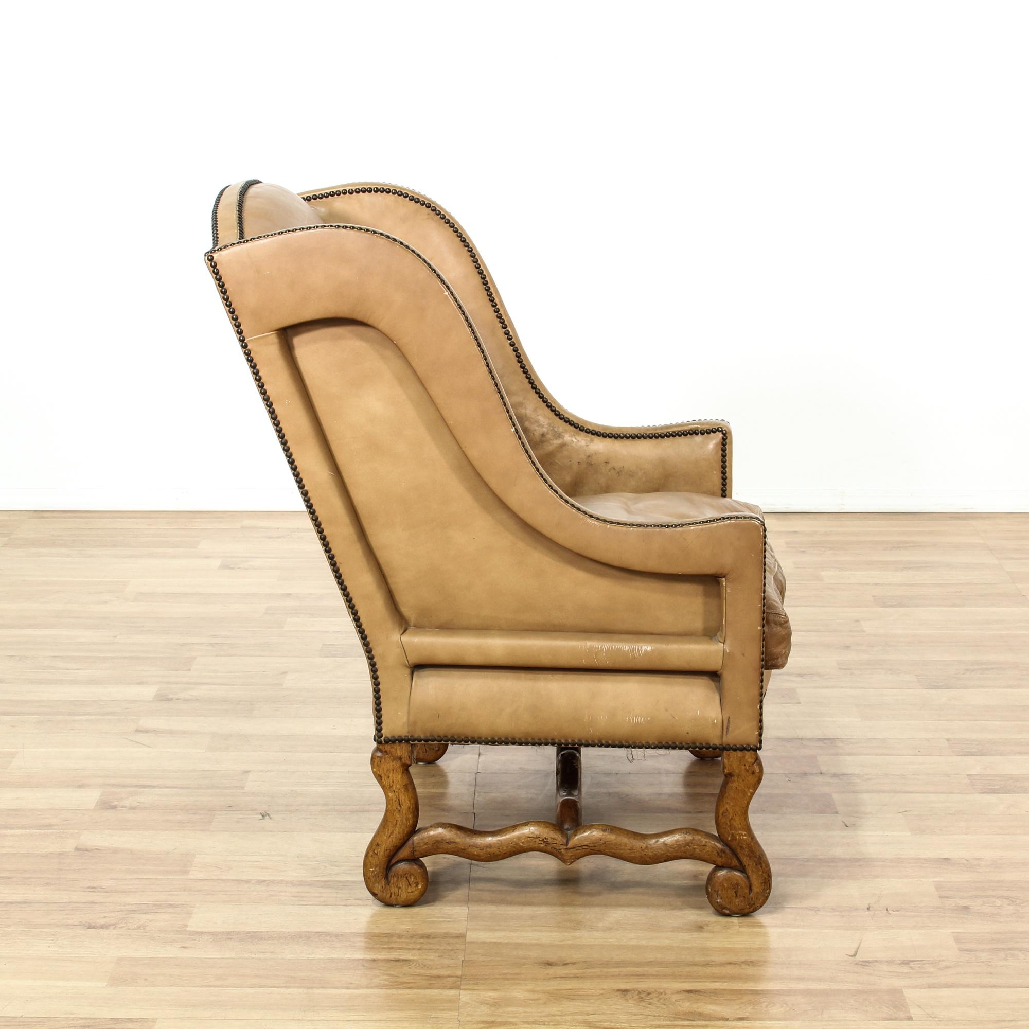 Studded Tan Leather Wingback Armchair Loveseat Vintage