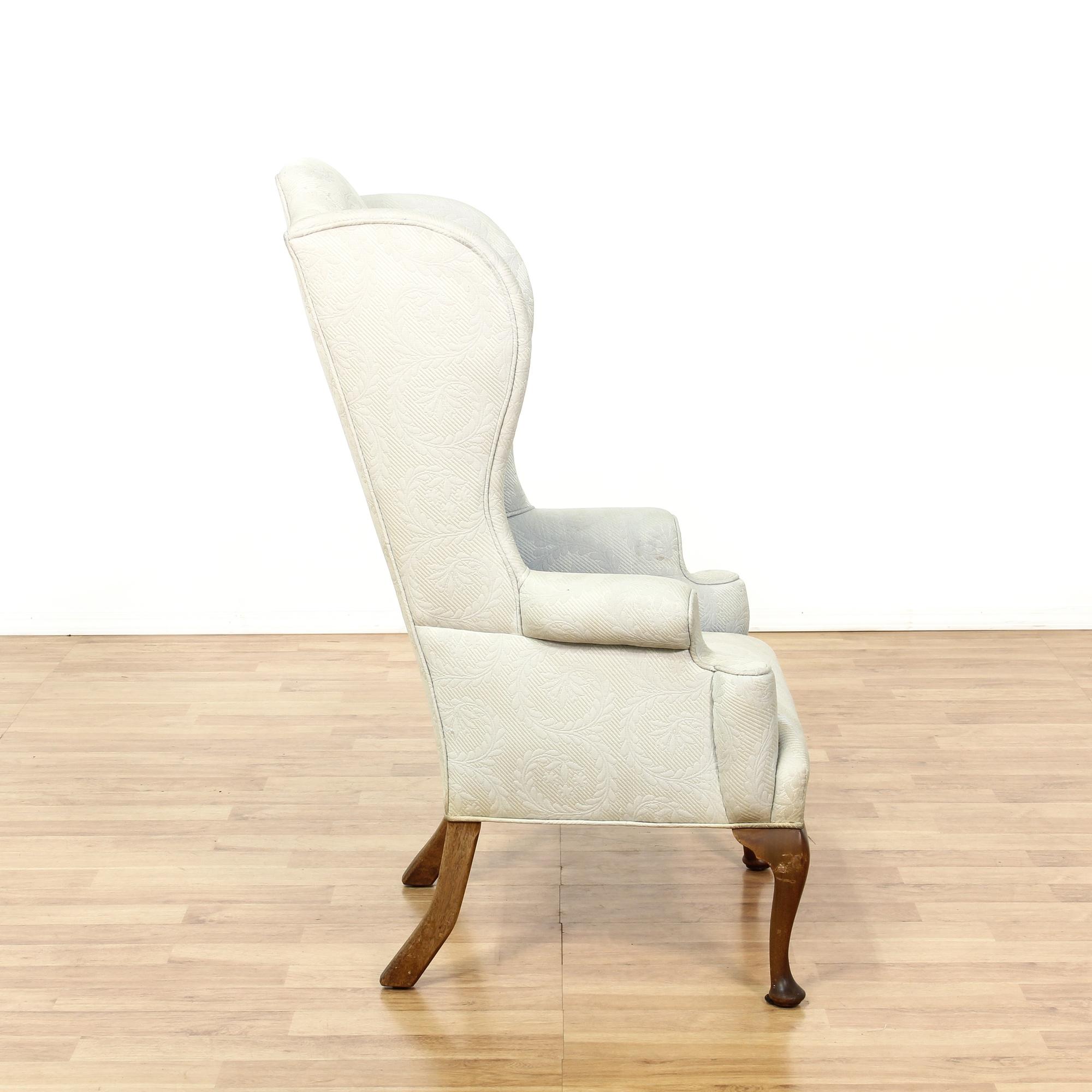 Light blue leaf print tall wingback armchair loveseat for Light blue armchair