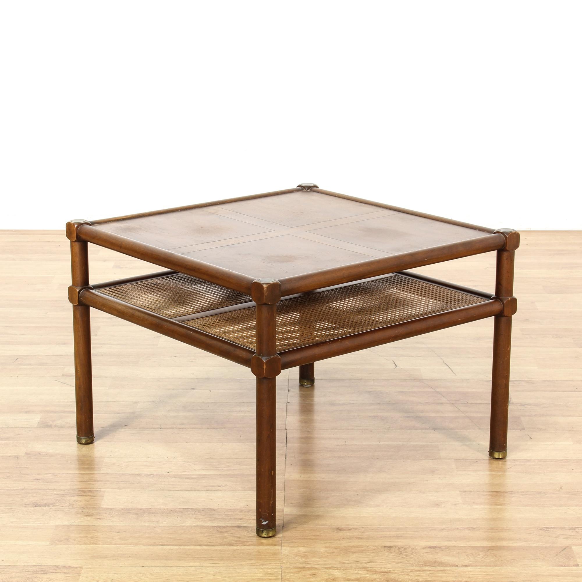 Wooden 2 Tier Wicker Bottom Coffee Table Loveseat Vintage Furniture San Diego Los Angeles