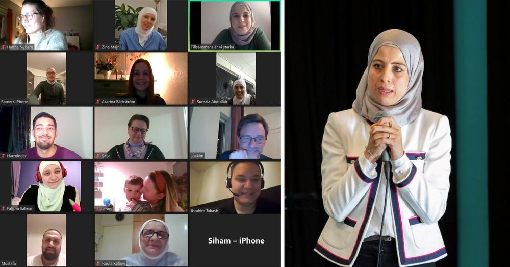"""Nour Abdulsalam, ordförande i föreningen """"Tillsammans är vi starka"""" håller i det digitala uppstartsmötet i projektet SAWA."""